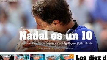 La portada de Olé tras el décimo Roland Garros de Nadal