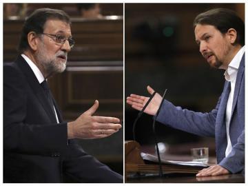 Rajoy y Pablo Iglesias durante la moción de censura