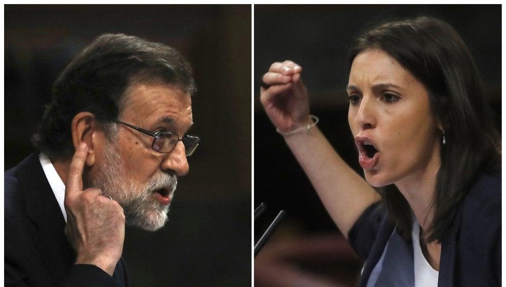 El presidente del Gobierno, Mariano Rajoy, y la portavoz de Unidos de Podemos, Irene Montero