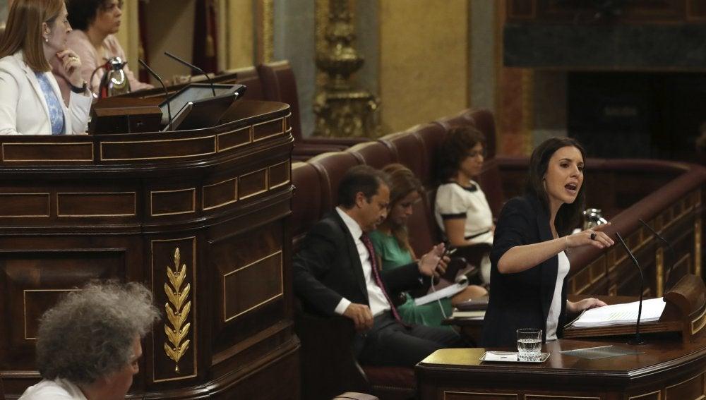 Irene Montero durante su intervención