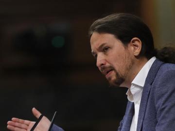 Pablo Iglesias, durante la moción de censura contra Rajoy