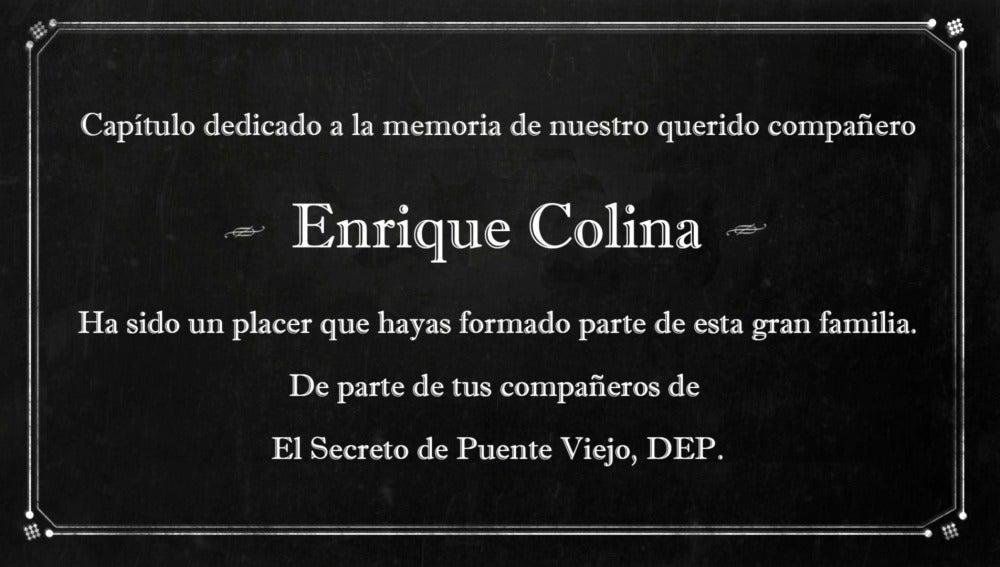 La bonita dedicatoria del equipo de 'El secreto de Puente Viejo' a Enrique Colina