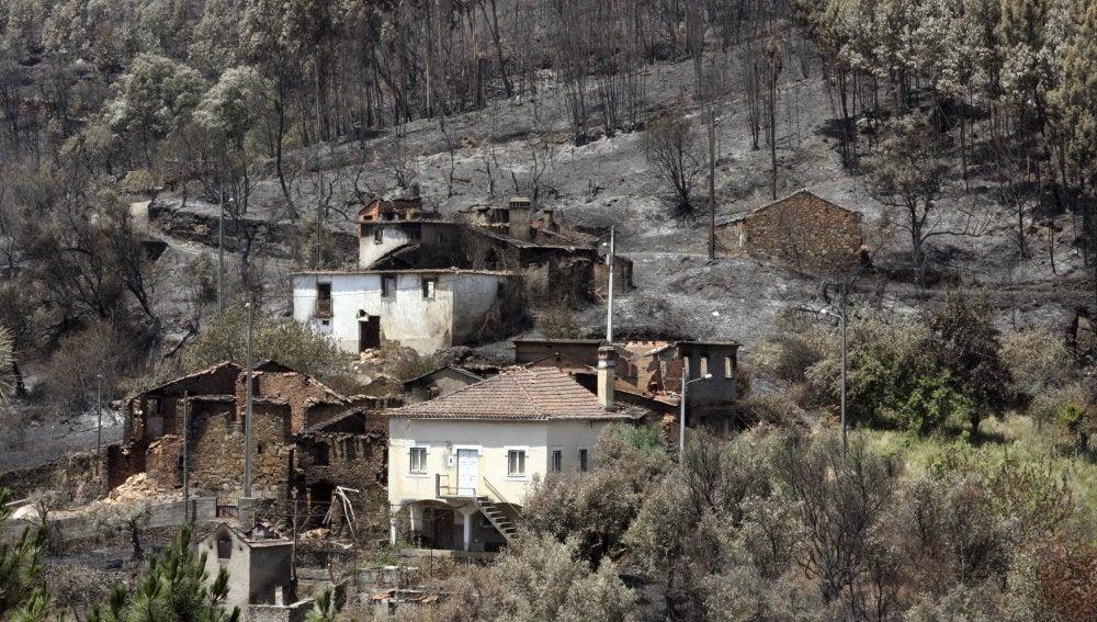 Vista de la zona quemada por el incendio originado en Pedrógão Grande