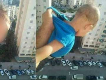 Foto publicada por el condenado tras arriesgar la vida del bebé