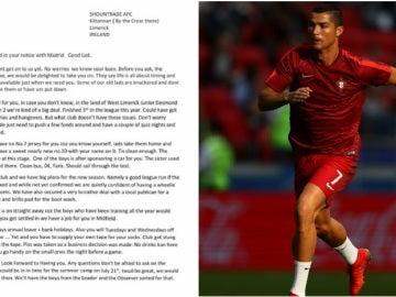 Carta del Shoundtrade a Cristiano Ronaldo