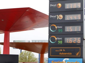 Un panel de una gasolinera