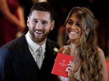 Leo Messi y Antonella Roccuzzo en su boda