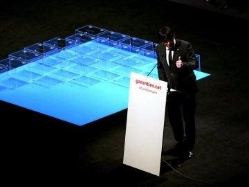 Carles Puigdemont en el acto de presentación de la ley del referéndum