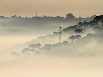 Una espesa nube de humo sobre el perímetro del incendio