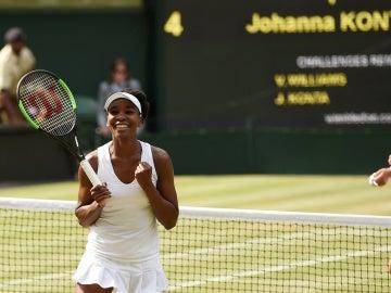 Venus Williams celebra su victoria ante Konta