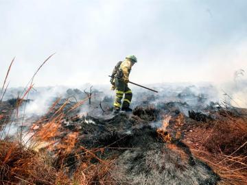 Un bombero trabaja en la extinción del incendio en el paraje de la Alhambra (Granada)