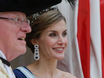 La reina Letizia durante la cena de gala con el alcalde de Londres