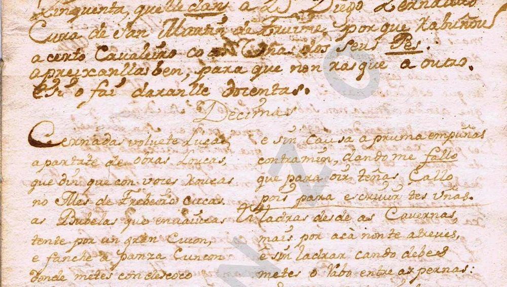 Manuscrito inédito en gallego, que data del s.XVIII, en plenos 'Séculos Escuros'