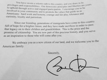 Carta de bienvenida firmada por Obama