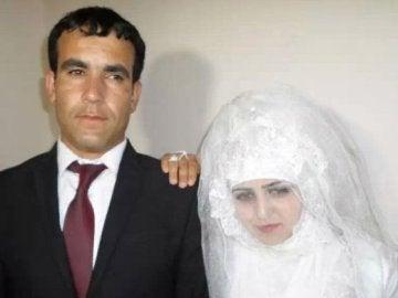La pareja en el día de la boda