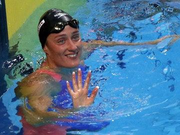 Mireia Belmonte, tras acabar una prueba del Mundial de Natación de Budapest