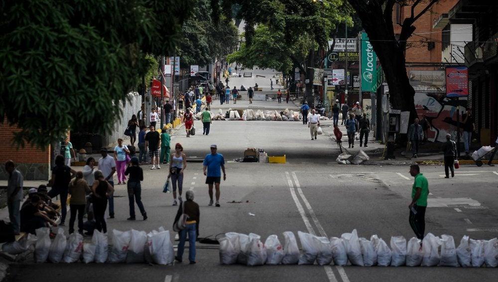 Barricadas en una calle de Caracas