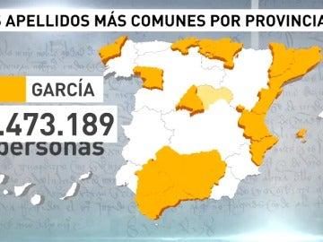 Los apellidos que más se repiten en España