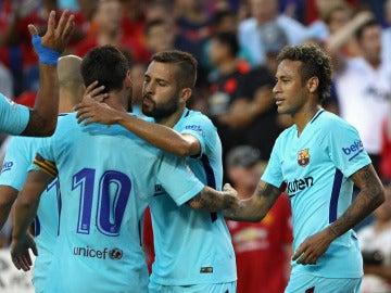Los jugadores del Barcelona celebran el gol de Neymar ante el Manchester United