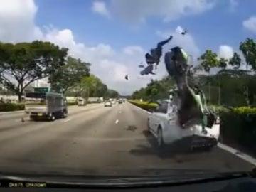 Accidente de moto en Singapur