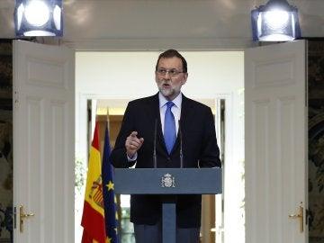 El presidente del Gobierno, Mariano Rajoy, durante su comparecencia en Moncloa