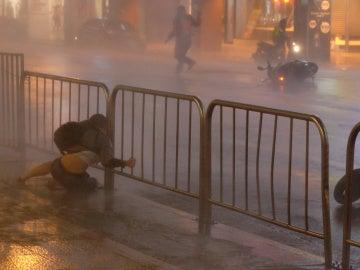 El tifón llegando a Taipei (Taiwán)
