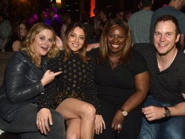 Amy Poheler, Aubrey Plaza, Retta y Chris Pratt