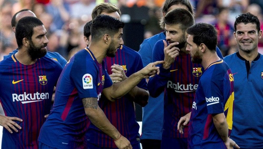 Los jugadores del Barça en el Joan Gamper
