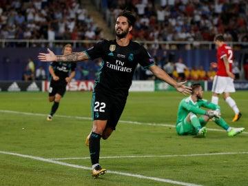 Isco celebra su gol ante el Manchester United