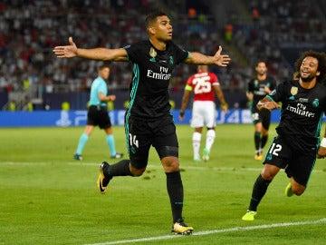 Casemiro celebra su gol ante el Manchester United