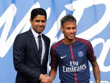 Neymar durante su presentación en el PSG