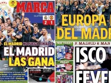 La victoria del Real Madrid en la Supercopa de Europa, protagonista en la prensa