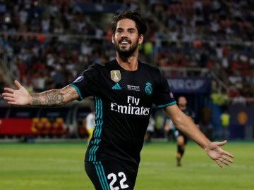Isco celebra un gol con el Real Madrid
