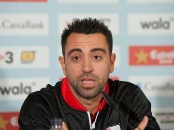 Xavi Hernández en una rueda de prensa