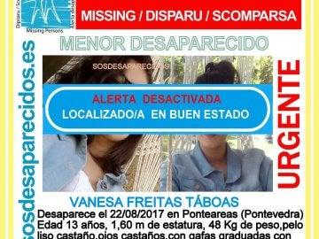 """Localizada """"en perfecto estado"""" en Mondariz la menor de Ponteareas (Pontevedra) desaparecida desde el martes"""