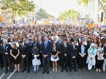 Rey en la manifestación antiterrorista en Barcelona