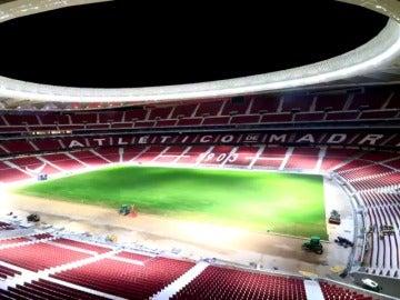 Espectacular 'time lapse' del Atlético: así colocaron el césped en el Wanda Metropolitano