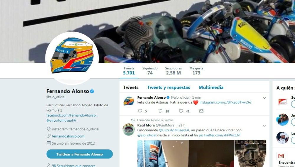 Perfil de Fernando Alonso en Twitter