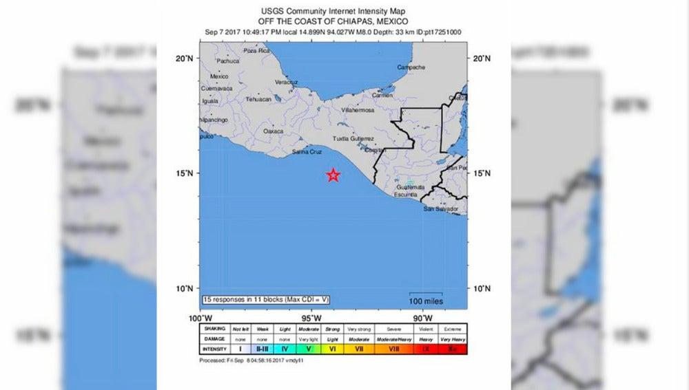 Ubicación de un terremoto en México