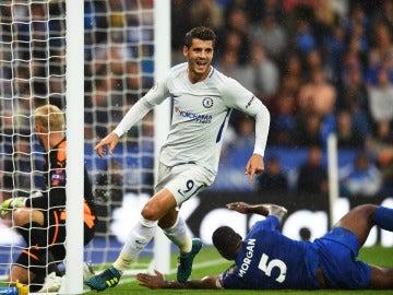 Morata celebra su gol contra el Leicester
