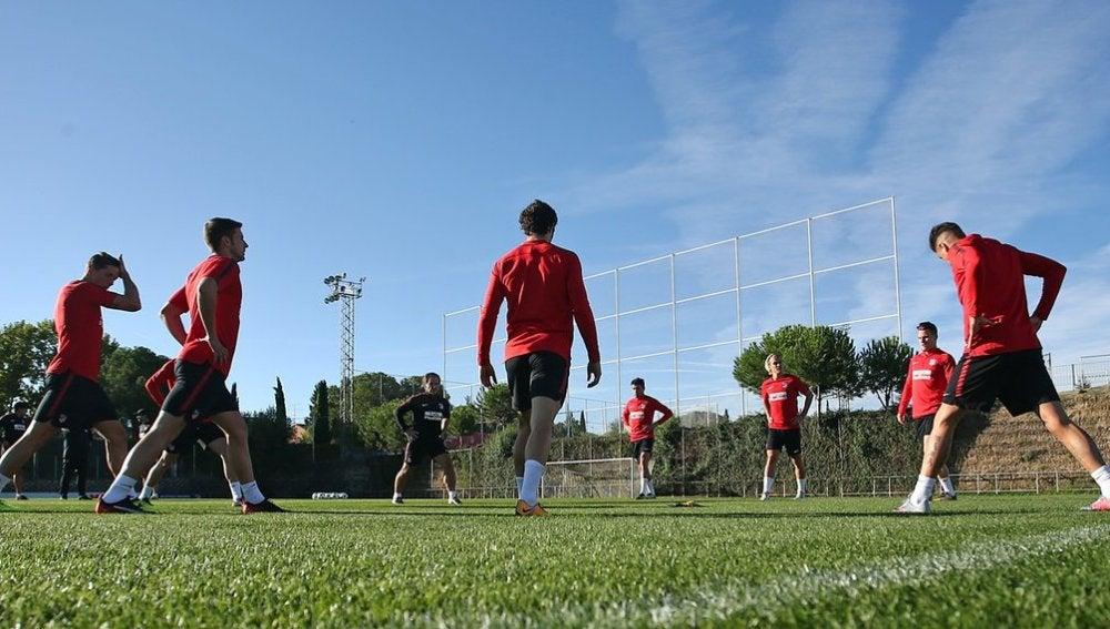 El Atlético en el entrenamiento
