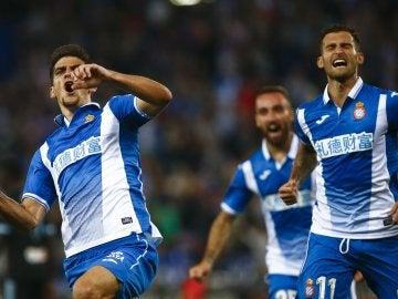 Gerard Moreno celebra un gol con el Espanyol