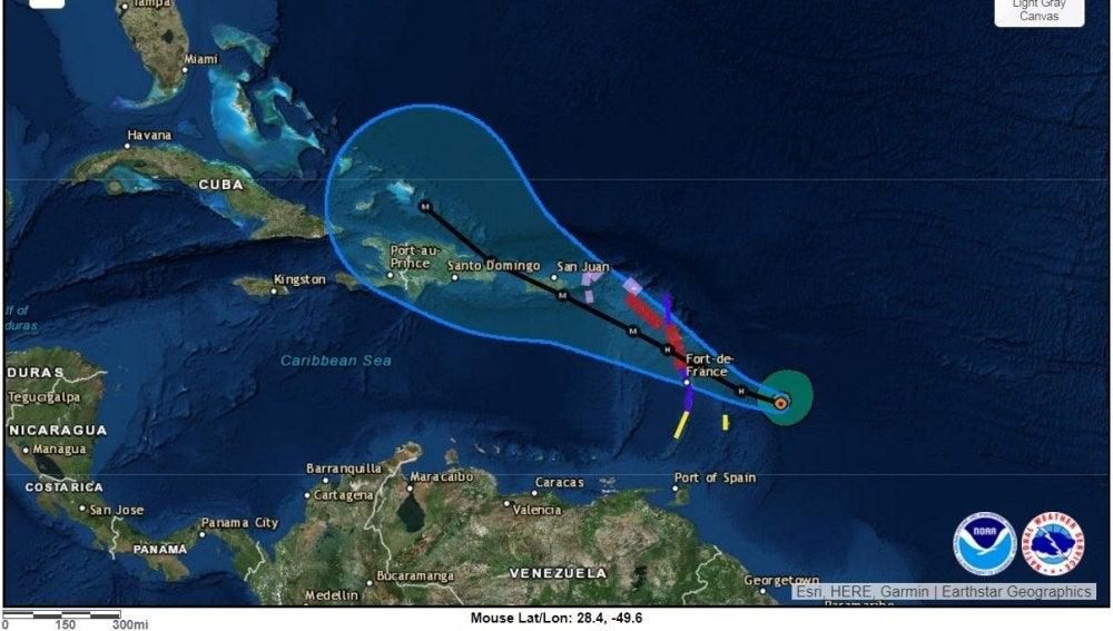 Recorrido del huracán 'María' de categoría 1