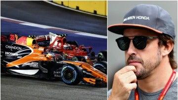 Cabreo de Alonso tras su accidente en Singapur
