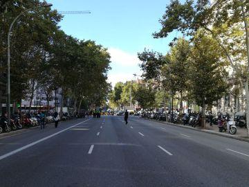 Gran Vía de Barcelona cortada