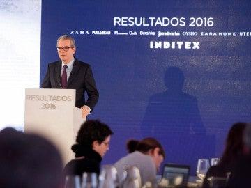 El presidente de Inditex, Pablo Isla, durante la presentación de unos resultados del grupo Inditex