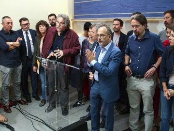 Rueda de prensa conjunta de Unidos Podemos y los nacionalistas en el Congreso