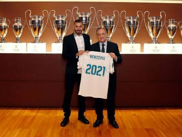 Benzema, junto a Florentino Pérez