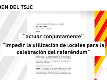 El TSJC obliga a la Policía, Mossos d'Esquadra y Guardia Civil a cerrar todos los locales públicos del referéndum ilegal del 1-O