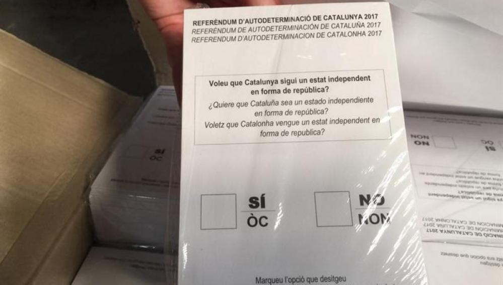 Papeletas del referéndum del 1-O incautadas por la Guardia Civil